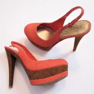 Jessica Simpson Platform Heels Coral Brown size 8B